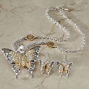 Two-Tone Crystal Butterfly Necklace and Earrings Set
