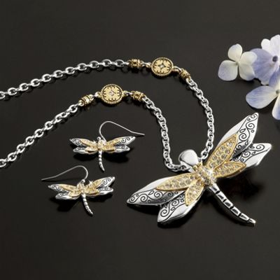 Crystal Dragonfly Necklace and Earrings Set