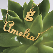 gold name script necklace
