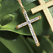 gold two tone diamond cut cross pendant