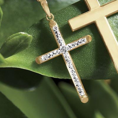 Gold Two-Tone Diamond-Cut Cross Pendant