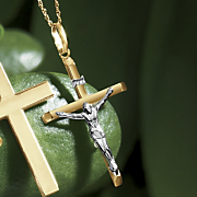 gold two tone crucifix pendant