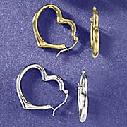 gold heart hoops