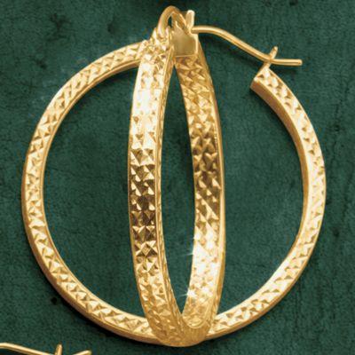 Gold Diamond-Cut Round Hoop Earrings