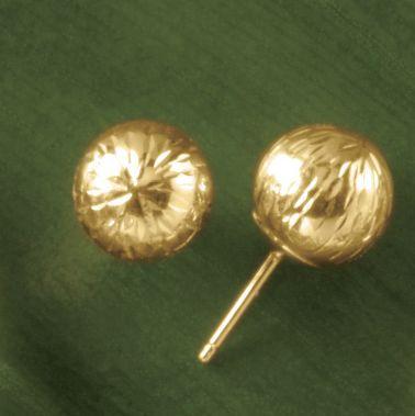 Gold Diamond-Cut Ball Post Earrings