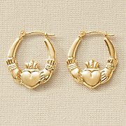 gold claddagh hoops