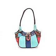 trish colorblock leather satchel by m c handbags