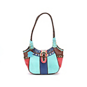 trish colorblock leather satchel by m c handbags