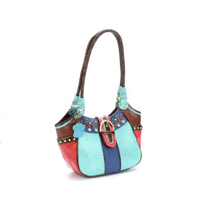 Trish Colorblock Leather Satchel by M.C. Handbags