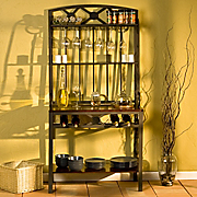 decorative bakers rack with wine storage