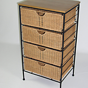 4-Drawer Wicker Storage