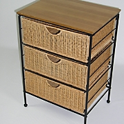 3 drawer wicker storage