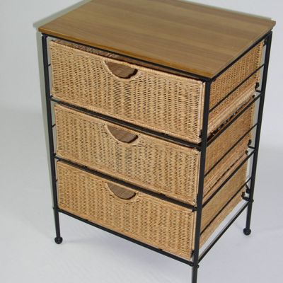 3-Drawer Wicker Storage