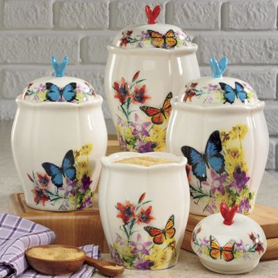 4-Piece Butterfly Canister Set