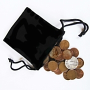 bag of coins w silver quarter