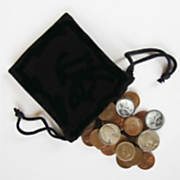bag of coins with five special coins