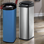 auto open brushed finish trash bin