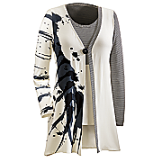 inkblot tank and attached cardigan set