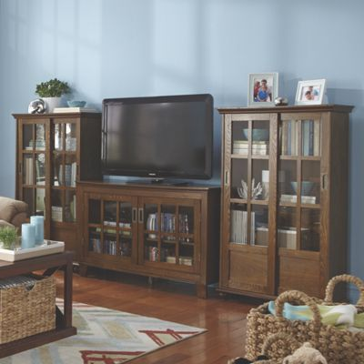 Pompero Tall Sliding Door Bookcase and TV Stand