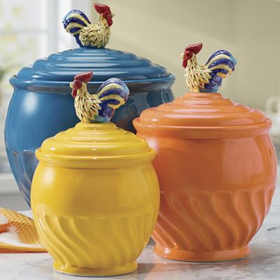 3-Piece Colorful Rooster Canister Set