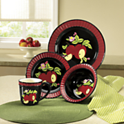 16 piece midnight apple dinnerware set