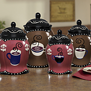 set of 4 coffee canisters 14