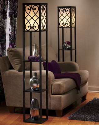 eurico floor lamp with shelves from seventh avenue dw707014. Black Bedroom Furniture Sets. Home Design Ideas