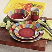 16-Piece Rainbow Stripe Dinnerware