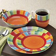 16 piece rainbow stripe dinnerware