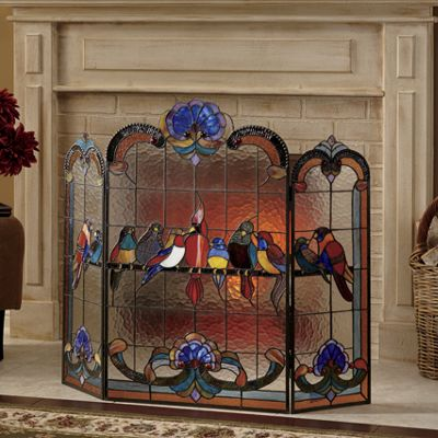 Birds On A Wire Stained Glass Fireplace Screen From Seventh Avenue Dc707070