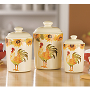 3-Piece Rooster Canister Set