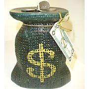 burlap money bag candle