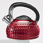red hammered tea kettle