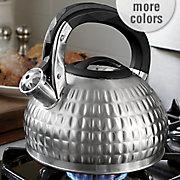 red hammered tea kettle