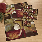 geo abstract 3 piece rug set