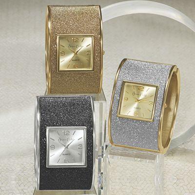 Glitter Hinge-Cuff Watch