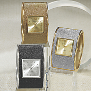 glitter hinge cuff watch