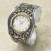two tone hinged cuff watch