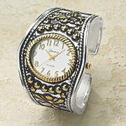 two tone hinged cuff watch