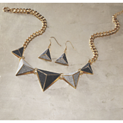 glitter pyramid necklace earring set