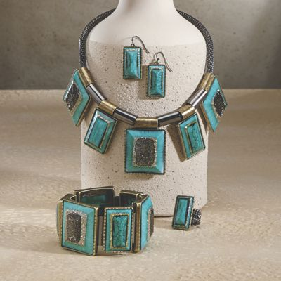 Framed Faux Turquoise Jewelry