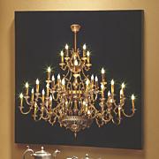 lit chandelier wall art