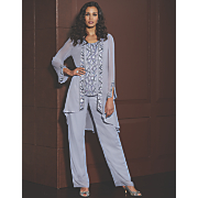 Zakira Beaded Pant Set, Diamond Band and Slader Slingback