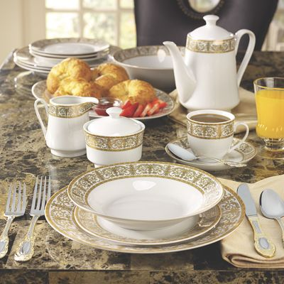 "47-Piece Gold ""Medici"" Porcelain Dinnerware Set"