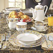 47 piece gold medici porcelain dinnerware set
