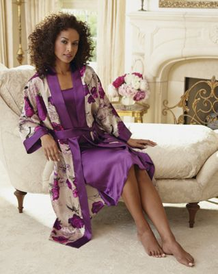 Floral-Print Robe and Purple Gown Set