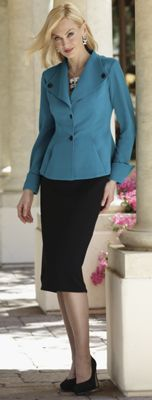 Knit Suit with Tuxedo Peplum