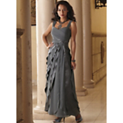 Nicoletta Satin and Chiffon Layer Gown