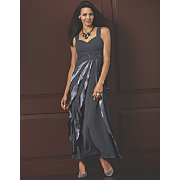 Satin and Chiffon Gown, Crystal Jewelry and Slader Slingback