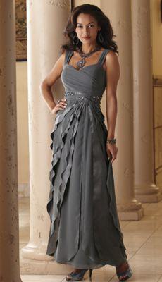 Nicoletta Satin and Chiffon Layer Gown